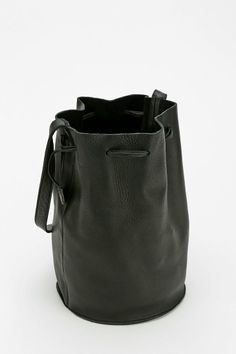 BAGGU Leather Drawstring Bucket Bag