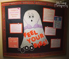educational bulletin board for October! October is Breast Cancer Awareness Month! Feel your BOObies! Bulletin Board Design, Ra Bulletin Boards, Ra College, College Life, Pink Pumpkin Party, Residence Life, Resident Assistant, Res Life, Student Life