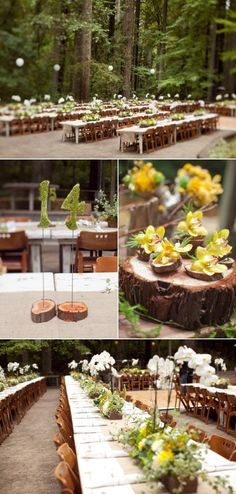 Rustic wedding in the woods great centerpieces and table numbers / http://www.deerpearlflowers.com/woodland-wedding-table-decor-ideas/2/