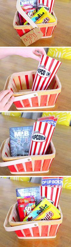 Movie Night Hamper | 23 DIY Valentines Crafts for Boyfriend | DIY Birthday Gifts for Him