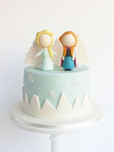 Frozen cake toppers, buy now on Etsy. Receive decorations in the mail and make the cake at home. Chibi ana and elsa