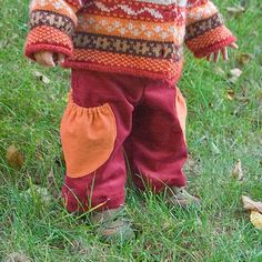 Cherry corduroy pants with big semicircle by AdatineClothing, $32.00