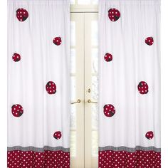 Create a stylish look with these Sweet Jojo Designs Window Panels. Pair with coordinating Sweet Jojo Designs children's bedding sets to help complete the look and feel of the bedroom theme for your ch Polka Dot Curtains, Cotton Curtains, Window Panels, Panel Curtains, Curtain Panels, Window Drapes, Red And White Curtains, Kids Window Treatments, Ladybug Nursery