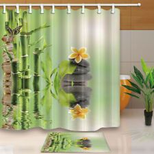 Bamboo Leaves Wooden Board Waterproof Fabric Shower Curtain Bathroom 71Inches