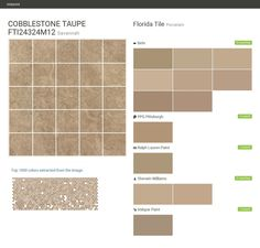 COBBLESTONE TAUPE FTI24324M12. Savannah. Porcelain. Florida Tile. Behr. PPG Pittsburgh. Ralph Lauren Paint. Sherwin Williams. Valspar Paint.  Click the gray Visit button to see the matching paint names.