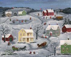 """Mary Singleton Folk Art - """"Snow Day"""""""
