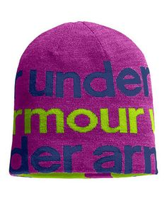 UNDER ARMOUR GIRLS BEANIE HAT CAP~YOUTH SWITCH IT UP REVERSIBLE SKI~HOT PINK