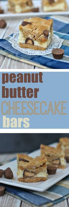 Delicious Peanut Butter Cheesecake Bars are so good, you'll want to keep some to yourself! With layers of graham cracker crust, creamy cheesecake, and cookie dough, these bars are packed with peanut butter morsels and Reese's miniature PB cups!
