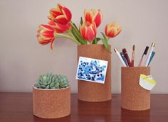 would love to have these cork vases on my desk...it's a prettier take on message boards