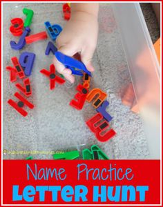 Name Practice Letter Hunt - a fun game to practice name recognition and spelling