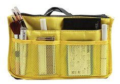 EVTECHTM Nylon Handbag Insert Comestic Gadget Purse Organizer Yellow >>> To view further for this item, visit the image link.