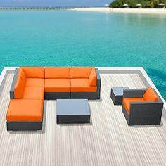 Luxxella Outdoor Sofa Set Beruni 8 Pcs Modern Set Orange Furniture All Weather Wicker Sofa Set Luxxella http://www.amazon.com/dp/B00R3MPTZE/ref=cm_sw_r_pi_dp_Quzpvb1AQP77H