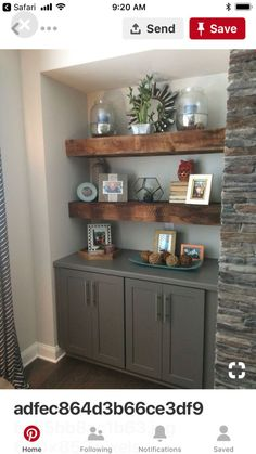 Our beautiful reclaimed wood floating shelves. Flanking fireplace with grey base - Desk Wood - Ideas of Desk Wood - Our beautiful reclaimed wood floating shelves. Flanking fireplace with grey base cabinets located in family room. by molly Decor, Family Room Design, Shelf Design, Home Projects, Kitchen Remodel, Interior, Home Decor, Home Remodeling, Wood Floating Shelves