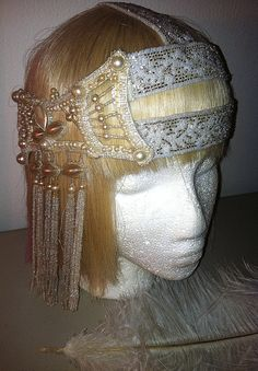 Authentic 1920s Beaded Art Deco Bridal Flapper Headdress   by ThePrancingFox