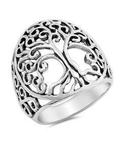 Oxidized Tree of Life Ring Solid 925 Sterling Silver Tree of Life Ring Spiritual Gift Tree of Life Jewelry Tree Of Life Ring, Tree Of Life Jewelry, Christian Gifts For Women, Lace Ring, Filigree Design, Beautiful Rings, Jewelry Gifts, Men's Jewelry, Fashion Jewelry