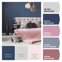 Paint colors from ColorSnap by Sherwin-Williams - Paint colors from ColorSnap by Sherwin-Williams Blue And Pink Bedroom, Navy Blue Bedrooms, Blue Master Bedroom, Blue Rooms, Bedroom Color Schemes, Bedroom Colors, Room Ideas Bedroom, Home Bedroom, Bedroom Images