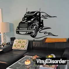 Semi Truck Wall Decal - Vinyl Decal - Car Decal - DC 059