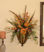 Metal Silk Floral Sconce : Floral Home Decor, Silk Flowers Hanging Flower Arrangements, Peony Arrangement, Sunflower Arrangements, Silk Floral Arrangements, Faux Flowers, Silk Flowers, Silk Roses, Floral Wall, Ikebana