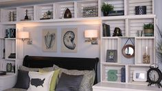 """Kys new room DIY Built-In Bookshelves from Crates - from the show """"Knock it Off"""" on the Live Well Network. LOVE this show and all the DIY cost effective ideas! Wood Crate Shelves, Crate Bookshelf, Bookshelves Built In, Wall Shelves, Book Shelves, Wooden Crates, Built Ins, Crate Furniture, Diy Furniture Projects"""