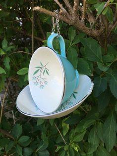 Blue Tea Cup Bird Feeder Coffee Cup Bird Feeder Hanging by mscenna