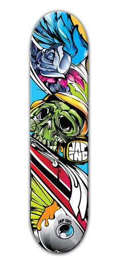 The use of so many vibrant colours and fluid strokes makes this design feel active and optimistic, despite including a green skull. The skull is sculpted in fluid way as well, resulting in its appearing almost shiny. There is an effective sense of volume throughout due to the progressive built-up of colour and light.