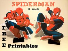 "Free Spiderman 11"" Superhero Birthday Party Centerpiece Printables that can be printed at home, plus DIY video by Cake Crusaders Blog.com"