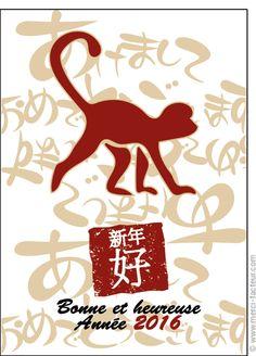 #carte #nouvelan #chinois #chine #signe #singe Carte Bonne et heureuse ann�e chinoise pour envoyer par La Poste, sur Merci-Facteur ! Chinese New Year Card, New Moon, The Letterman, Monkeys, Thanks