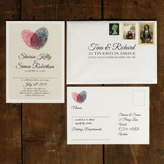 Personalised Fingerprint Heart Wedding Invitation - Pink 30 50 100 renewal