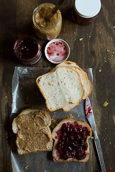 PB&J  Eating a peanut butter and jelly sandwich... homemade nut butter recipe