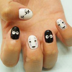 18 Miyazaki Nail Art Designs That Totally Nailed It Halloween Acrylic Nails, Halloween Nail Designs, Minimalist Nails, Simple Nail Art Designs, Easy Nail Art, Trendy Nails, Cute Nails, Anime Nails, Kawaii Nail Art