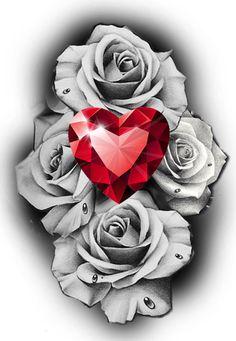 rose tattoo diamont design black and grey realism