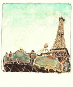 Paris painting Eiffel tower art French art by jenniferallevato, $46.00