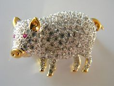 Vintage Rhinestone Glitzy Pig Piggy Hot Pink Eyes Pin Brooch Signed Gold Tone