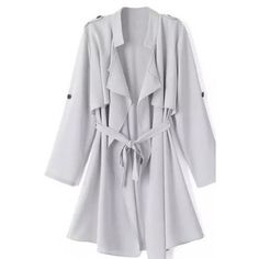 LUCLUC Gray Turn Down Collar Chiffon Sash Ruffle Trench Coat ($48) ❤ liked on Polyvore
