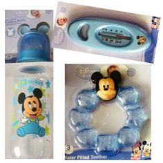 Disney Baby Mickey Mouse Gift Set - Feeding Bottle, Bath Thermometer, Teether from Disney