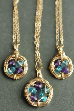 Family Nest birthstone necklace / Mu-Yin Jewelry