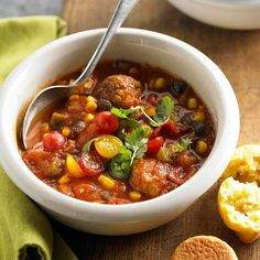 Southwestern Meatball Chili-Talk about comfort food. This meatball chili brings the heat to the dinner table. Complete the meal with corn muffins or bread -- homemade or from the grocery store bakery Chili Recipes, Soup Recipes, Cooking Recipes, Recipies, Chowder Recipes, Muffin Recipes, Cooking Tips, Easy Recipes, 30 Minute Meals
