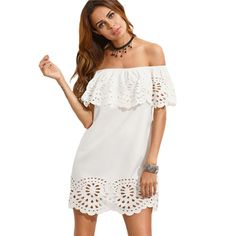 452a44bafd1 SheIn New Fashion Women Summer Beach Dresses Ladies Boho White Short Sleeve  Cut Out Off The