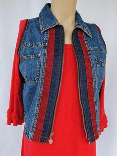Vintage Vest Light Medium Blue Denim Jeans Top Sleeveless Chic 90s Chic Retro Unisex Women Men Clothing / Small Size q15JImru