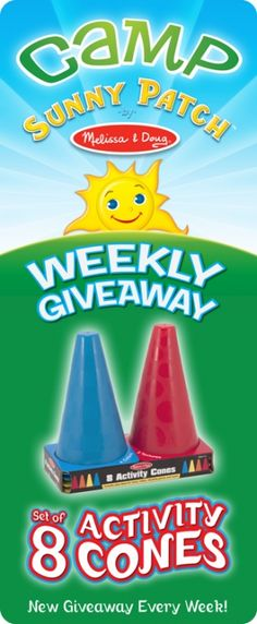 Giveaway (ends 8/14) Activity Cones – Set of 8! Camp Sunny Patch Session 10    http://blog.melissaanddoug.com/2012/08/12/giveaway-ends-814-activity-cones-set-of-8-camp-sunny-patch-session-10/  #CampSunnyPatch