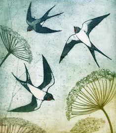 'Summer Swallows II' by Kerry Buck (collagraph) Art And Illustration, Linocut Prints, Art Prints, Bird Artwork, Wildlife Art, Ancient Art, Painting Inspiration, Art Projects, Art Drawings