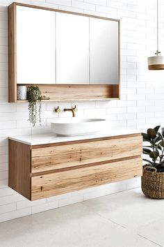 Modern bathroom inspiration with wood, gold and white tiles M . - Modern bathroom inspiration with wood, gold and white tiles inspiration Beautiful bathroo - Bathroom Mirror Design, Modern Bathroom Design, Bathroom Interior Design, Bathroom Sets, Bathroom Storage, Bathroom Organization, Bathroom Mirrors, Master Bathrooms, Bathroom Faucets