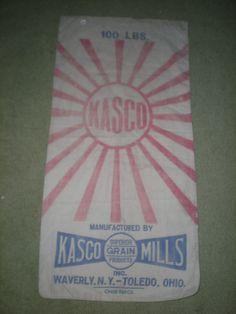 OLD KASCO MILLS FEED GRAIN SACK BAG CLOTH-100 LB WAVERLY NY TOLEDO OHIO 2 SIDED #KASCO