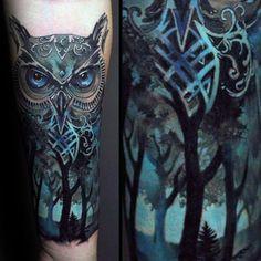 Owl Blue Ink Forest Tattoos For Men On Inner Forearm