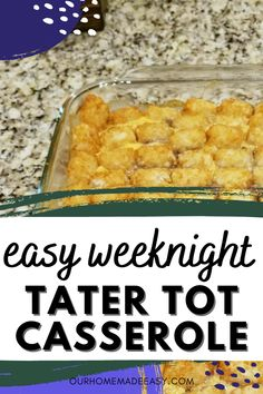 This cheesy Tater Tot casserole is one of my favorites from childhood. And why not? It's easy to make, and with hamburger, cheese and tater tots, so you won't even need a side, and it only takes about 10 minutes to prep. This cozy casserole just might be your new weekly go-to! Quick Easy Dinner, Easy Meal Prep, Easy Meals, It's Easy, Pork Recipes For Dinner, Italian Dinner Recipes, Easy Tater Tot Casserole, Tater Tots, Quick Family Dinners