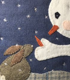 Spirit of Giving wool appliqué pattern by EweUs 2019 Spirit of Giving wool appliqué pattern by by SusanGonzalesDesigns The post Spirit of Giving wool appliqué pattern by EweUs 2019 appeared first on Wool Diy. Penny Rug Patterns, Applique Quilt Patterns, Applique Templates, Felt Applique, Owl Templates, Felt Patterns, Felted Wool Crafts, Felt Crafts, Snowman Crafts