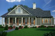 This country house plan features a welcoming front porch that promotes outdoor living. Use code GETSOCIAL for 10% off your house plan (some exclusions apply). Questions? Call 1-888-447-1946 today. #architect #architecture #buildingdesign #homedesign #residence #homesweethome #dreamhome #newhome #newhouse #foreverhome #interiors #archdaily #modern #farmhouse #house #lifestyle #design #buildersareessential Cottage Style House Plans, House Plans One Story, House Plans And More, Cottage Style Homes, Best House Plans, Cottage Design, Small House Plans, House Design, Exposed Rafters