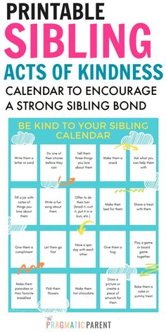 Healthy relationships 553309504221703486 - This fun activity will encourage siblings to get along. Print the sibling acts of kindness calendar to help spread the love & stop the sibling fighting. Source by PragmaticParent Gentle Parenting, Parenting Quotes, Parenting Advice, Kids And Parenting, Parenting Styles, Kindness Activities, Bonding Activities, Fun Activities, Sibling Fighting