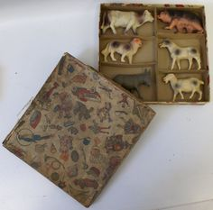 1930's Celluloid Farm Animal Set of 6 in original box made in USA (G22)