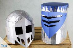 Zum perfekten Ritterkostüm gehört natürlich auch ein Helm mit Visier. Hier zeigen wir Ihnen zwei Varianten, wie Sie einen Ritterhelm basteln können.